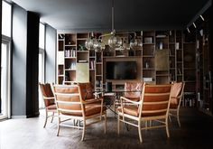 The Colonial Chair used for the lounge area of super cool Hotel SP34 in Copenhagen. Designed by Ole Wanscher in 1949.
