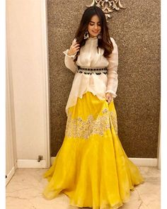 in our organza blouse + skirt ensemble styled with our signature embellished belt. —⁠ Shop the look:⁠⁠ ⭐️ At our flagship… Designer Party Wear Dresses, Kurti Designs Party Wear, Indian Designer Outfits, Pakistani Fashion Party Wear, Pakistani Dress Design, Indian Fashion, Choli Designs, Lehenga Designs, Indian Wedding Outfits