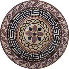 Create a grand entrance with the Athena Greco-Roman medallion. This beautiful natural stone mosaic showcases an elegant Marble Mosaic, Stone Mosaic, Mosaic Art, Free Mosaic Patterns, Tile Patterns, Pattern Ideas, Studios D'art, Art Pierre, Marquesan Tattoos