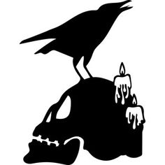 Schablone Silhouette Design Store: raven skull Tuck-pointing is the answer to you prayers: Article B Halloween Stencils, Halloween Vinyl, Halloween 2019, Holidays Halloween, Vintage Halloween, Halloween Crafts, Halloween Decorations, Halloween Templates, Halloween Clipart