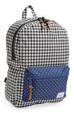 Plaid & denim polka dot backpack.