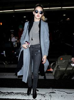 On Hadid: Lavish Alice Grey Marl Royal Tie Detail Duster Coat ($99); Citizens of Humanity Sculpt Rocket Skinny Jeans ($228); Bec & Bridge Gypset Tee ($160); Karl Lagerfeld Karl...