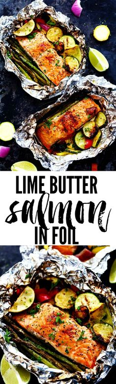 Lime Butter Salmon in Foil with Summer Veggies is grilled to tender and flaky perfection. The foil seals in the lime butter flavor and will be one of the BEST things that you eat!