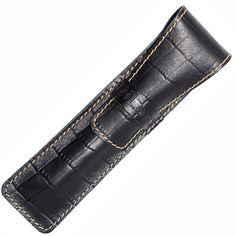 DiLoro Full Grain Leather Single Pen Case Holder Black Croc