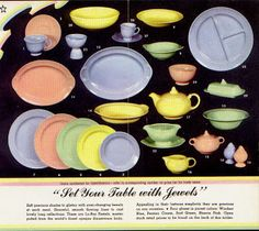 LuRay pastel dishes from Taylor Smith & Taylor Co. in East Liverpool, Ohio. The pastel colors are Windsor Blue, Surf Green, Persian Cream and Sharon Pink with the cream color being the most popular at the time.