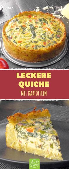 Quiche of potatoes. A pleasure # spinat . - Easy And Healthy Recipes Quiche Recipes, Potato Recipes, Vegan Breakfast Recipes, Dinner Recipes, Homemade Garlic Bread, Quiche Lorraine, Brunch, Food And Drink, Easy Meals