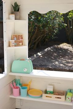 Our Kmart cubby hack — felicity cook. Playhouse Decor, Playhouse Interior, Playhouse Outdoor, Wooden Playhouse, Playhouse Ideas, Kids Cubby Houses, Kids Cubbies, Play Houses, Wendy House