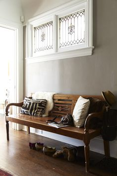 Lovely Bench for the entrywy. Home of Sarah Keenleyside + Jesse Boyer