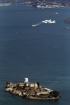 Space Shuttle Endeavour making it's final flight over Alcatraz en route to the California Science Centre in LA, 9/21/12