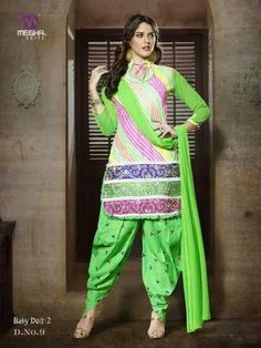 Beautifully Designed Multicolored Patiyala Dress in Cotton with awesome embroidery work done. Comes along with Green contrast matching finely embroidered Bottom and Duppatta.