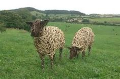 Willow Sheep on Holway Hill by Kim Cresswell Beautiful weaving on these sheep! Driftwood Sculpture, Sculpture Art, Garden Sculptures, Metal Sculptures, Willow Weaving, Basket Weaving, Land Art, Living Willow, Willow Garden