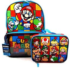 "Super Mario Boys & Girls Boss, Princess 16"" School Backpack With Lunch Bag Set 