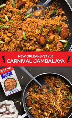 Carnival Jambalaya is the perfect quick and tasty party recipe. Start with Zatarain's Jambalaya Mix and add in cubed chicken breasts, green onions and sausage of your choice. For larger crowds, just double the mix. Zatarains Jambalaya, Jambalaya Recipe, Recipe Boards, Feeding A Crowd, Greek Recipes, Dinner Tonight, Paella, Fried Rice, Easy Dinner Recipes