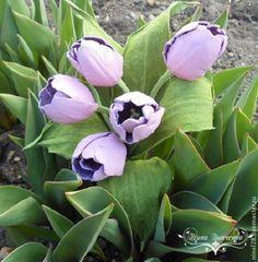 """Купить Тюльпаны из кожи """"Весенний букет"""" - тюльпаны из кожи, брошь из кожи, весенние цветы, тюльпаны"""