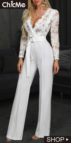 Long Rompers Womens Jumpsuit Lace Long Sleeve Sexy Deep V-neck Jumpsuit With Belt Overalls For Ladies Ropa Mujer 2020 Spring New Lace Jumpsuit, Jumpsuit With Sleeves, Rompers Women, Jumpsuits For Women, Fashion Jumpsuits, Long Overalls, Overalls Outfit, Look Fashion, Romper Outfit