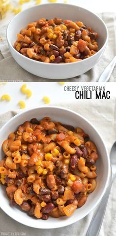 Cheesy Vegetarian Chili Mac - Budget Bytes This rich and comforting Cheesy Vegetarian Chili Mac cooks in one pot and in just about 30 minutes, making it the perfect stress-free weeknight dinner. Cheesy Vegetarian Chili Mac by Quick Vegetarian Meals, Healthy Recipes, Easy Weeknight Meals, Veggie Recipes, Dinner Recipes, Cooking Recipes, Delicious Recipes, Vegetarian Cookbook, Vegetarian Lunch