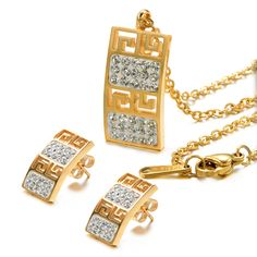 Unistyle Womens Cubic Zirconia Pendant Necklace and Earrings Jewelry Set of Titanium Stainless Steel Gold and Silver  http://www.amazon.com/dp/B00ZRI1XIS