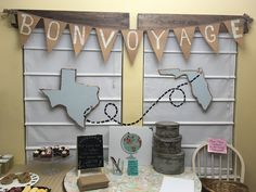 Pammy's bon voyage Kitchen Decoration rustic kitchen decor Farewell Party Decorations, Farewell Parties, Moving Away Parties, Deployment Party, Texas Party, Leaving Party, Bon Voyage Party, Goodbye Party, Trunk Party