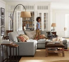Turner Square Arm Upholstered 3 Piece Bumper Sectional With Nailheads # Potterybarn
