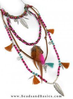 Long Boho Necklace With Fethers - Ibiza Summer Style - Trend - Beads & Basics