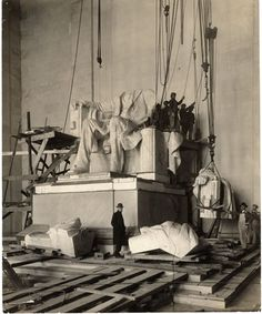 A photograph from 1920 during the construction of the 170-ton Lincoln Memorial.