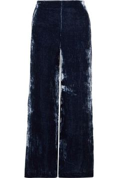 Staud - Margaux Crushed-velvet Wide-leg Pants - Storm blue Concert Outfit Winter, Concert Outfits, Girl Fashion, Fashion Outfits, Velvet Pants, Christmas Fashion, Crushed Velvet, Who What Wear, Wide Leg Pants