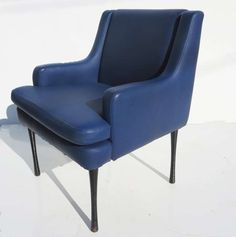 Gustavo Finali Pulitzer; Enameled Metal and Leatherette Armchair for MV Italia Cruise Lines, 1967.