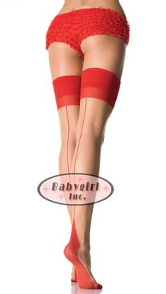PIN IT TO WIN! Cuban Heel Stockings for Garters with Red Backseam & Red Tops