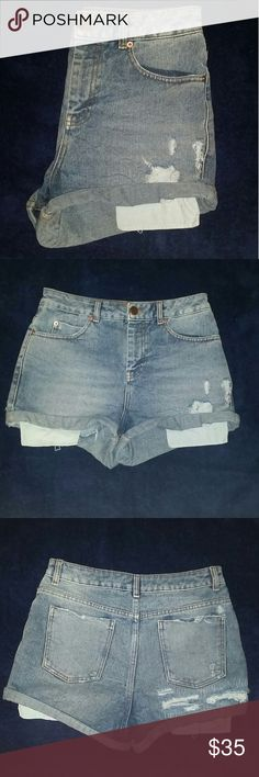 ASOS Denim Shorts Super cute and comfortable ASOS distressed denim shorts! Gently worn but still in great condition, the size tag says UK 10 but it's US 6. They are a bit cheeky but if that is what you are looking for Perfect😁 Asos Shorts