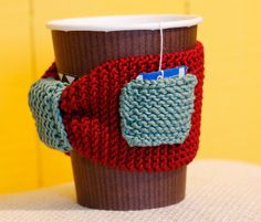 Red and green coffee cozy with pocket