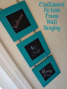 Chalkboard Picture Frame Wall Hanging #craft via www.jmanandmillerbug.com