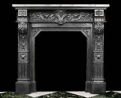 Antique Louis XIV Cast Iron Fireplace Mantel