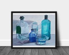 Bottles art print, Whiskey Bottle painting, Blue Abstract Art, Navy Blue Wall Art, Modern Navy Blue Decor, Restaurant print, kitchen art http://etsy.me/2EdKQ3V #art #print #giclee #blue #gray #blueabstractart #navy