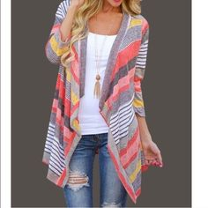 B2G1  NWOT stylish colorful striped cardigan! Material: polyester Sweaters Cardigans