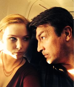 Molly and Nathan behind the scenes of In Plane Sight #Castle