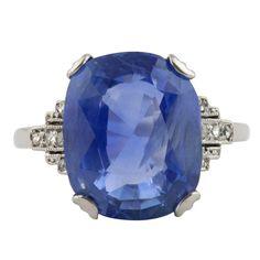 1stdibs | Art Deco Royal Blue Ceylon Sapphire Ring