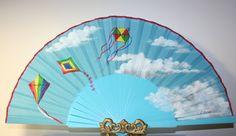 Kites. Free Shipping to US. Spanish hand fan. Hand by ArtEDuran, $27.00