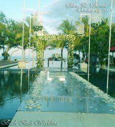 the water wedding Wedding Ceremony Arch, Reception, Bali Wedding, Dream Wedding, Pool Wedding Decorations, Wedding Trends, Wedding Ideas, Beach Weddings, Event Ideas