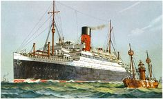RMS Ascania and Bar light ship in Mersey reproduction Cunard promotional postcard