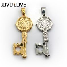 Wholesale Jewelry Silver/Gold Plated Key Pendant Necklace Fashion Stainless Steel Jewelry