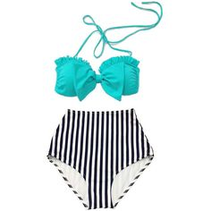 Mint Bow Top and Striped High Waist Waisted Shorts Bottom Swimsuit... ($40) ❤ liked on Polyvore featuring swimwear, bikinis, silver, women's clothing, high waisted bikini, high waisted retro bathing suits, high-waisted bathing suits, swimsuits bikinis and mint swim bathing suits