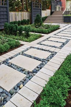 Add charm to your landscape by building a walkway! Side Yard Landscaping, Backyard Walkway, Outdoor Walkway, Stone Walkway, Modern Landscaping, Patio Stone, Concrete Patios, Patio Slabs, Concrete Walkway