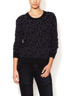 Leopard Textured Crewneck Sweater