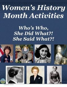 FREE!!!  This versatile activity could be utilized during Women's History Month, as a great end of year brain break for students, or could even be a back to school activity to introduce some women the students would learn about during the year.  Students match women to their image, a quote of theirs, and to what they are known for.  This includes a US History AND a World/European History version.