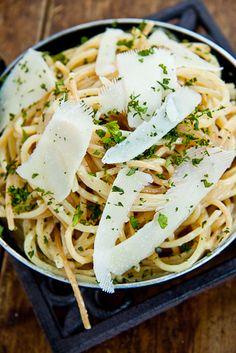 spaghetti with dijon, lemon + parmesan / simply delicious