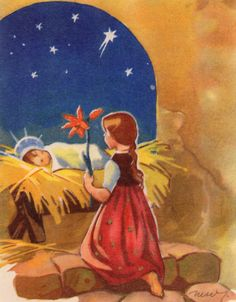 Martta Wendelin | Flickr - Photo Sharing! Christmas Manger, Christmas Past, Christmas Books, Vintage Christmas Cards, Retro Christmas, Vintage Cards, Catholic Kids, Nostalgia, Christmas Drawing