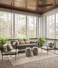 Traditional sunroom features a stained plank ceiling accented with a ceiling fan. - Traditional sunroom features a stained plank ceiling accented with a ceiling fan over floor to ceil - Decor, House Design, House, Interior, Home, House With Porch, Sunroom Decorating, Screened Porch Designs, Brick Flooring