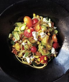 Linguine With Summer Vegetables and Goat Cheese from realsimple.com #myplate #vegetables