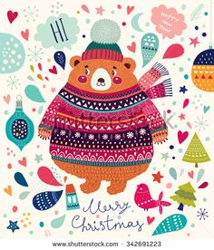 Beautiful vector Christmas illustration with cute Bear. Merry Christmas card. Stylish illustration