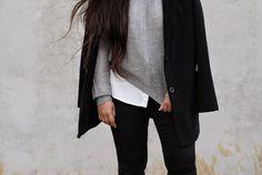 grey sweater, subdued, black leggings, simple, comfy, coat,
